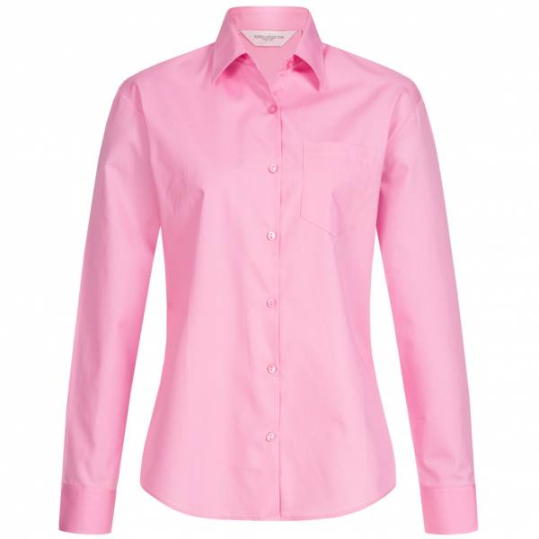 RUSSELL Longsleeve Pure Cotton Poplin Mujer Camisa 0R936F0-Rosa brillante
