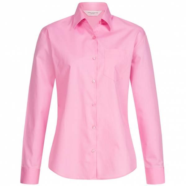 RUSSELL Puur katoenen popeline met lange mouwen Dames Overhemd 0R936F0-Bright-Pink