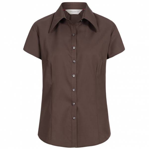 RUSSELL Short Sleeve Tencel Fitted Damen Hemd 0R955F0-Chocolate