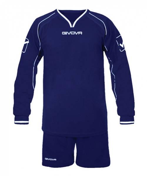 Givova Calcio Set Maglietta a maniche lunghe con Shorts Leader blu
