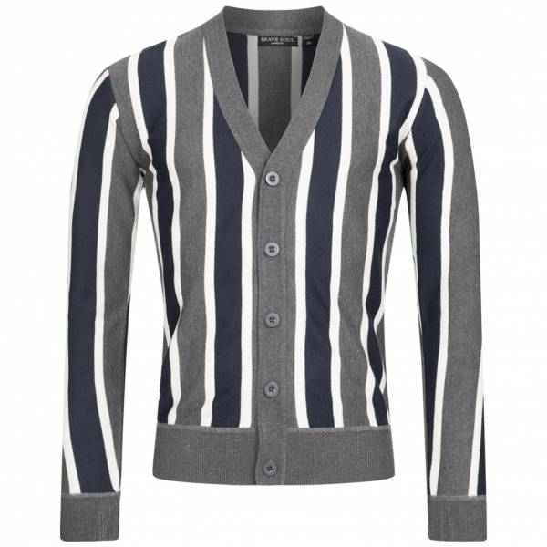 BRAVE SOUL Dutton Stripe Men Retro Cardigan MK-517DUTTON DK GRAY