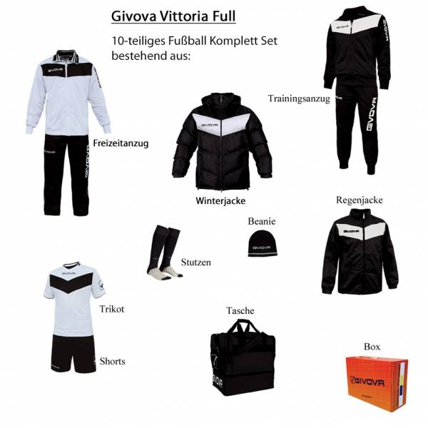 Givova Box Vittoria Full Fußball Set 10-tlg. schwarz/weiß