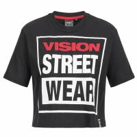 Vision Street Wear Damen Fitness Crew Neck Cropped Tee Shirt CL3103 black