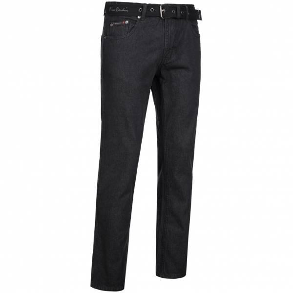 Pierre Cardin Herren Jeans Straight Leg mit Gürtel schwarz