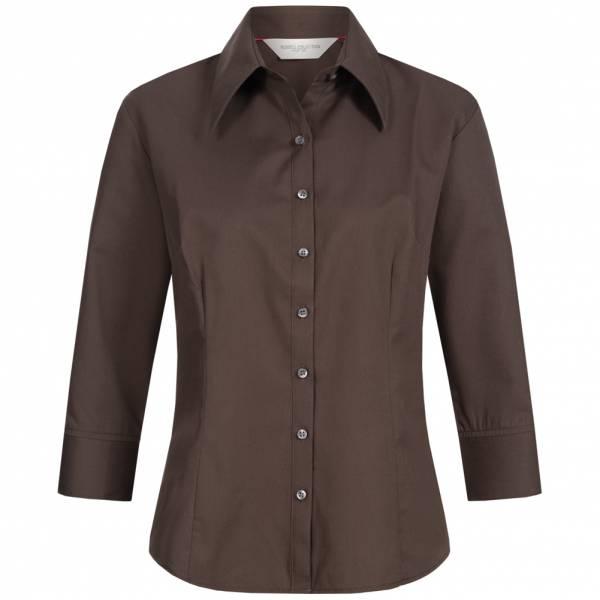 RUSSELL Longsleeve Tencel Fitted Damen Hemd 0R954F0-Chocolate