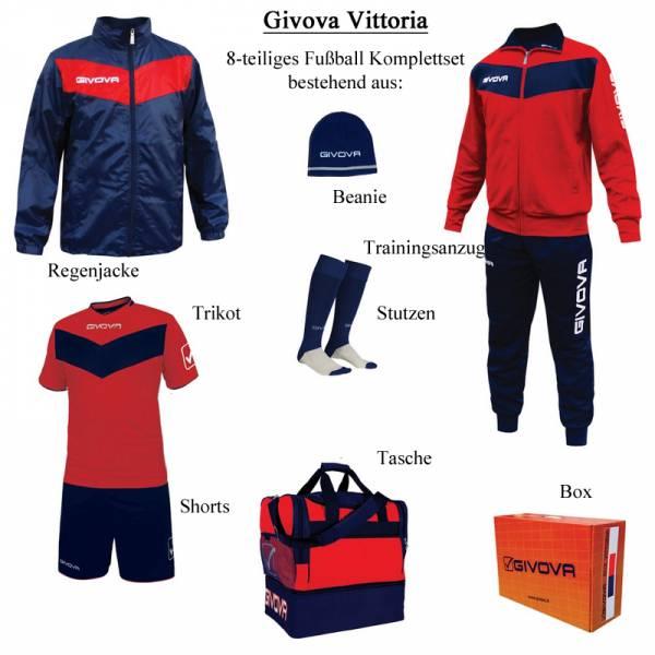 Givova Box Vittoria Fußball Set 8-tlg. rot/navy