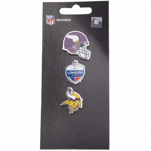 Minnesota Vikings NFL Pins métalliques Ensemble de 3 BDNF3HELMV