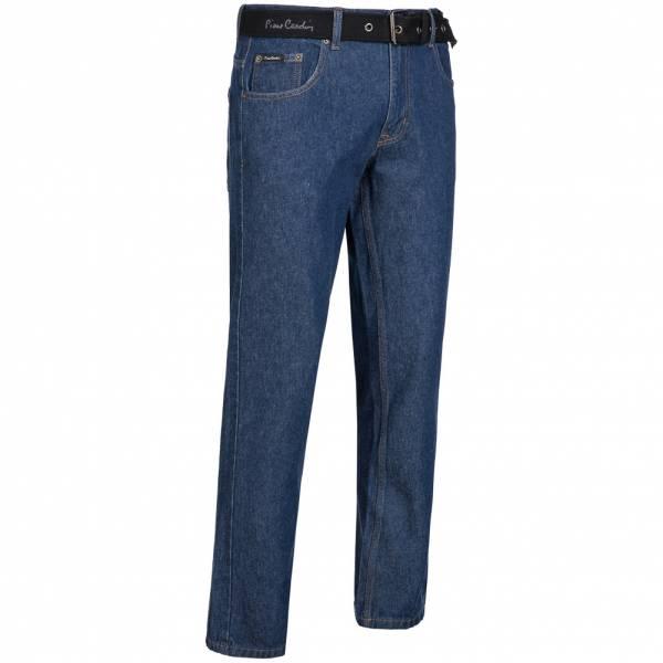 Pierre Cardin Herren Jeans Straight Leg mit Gürtel dunkelblau