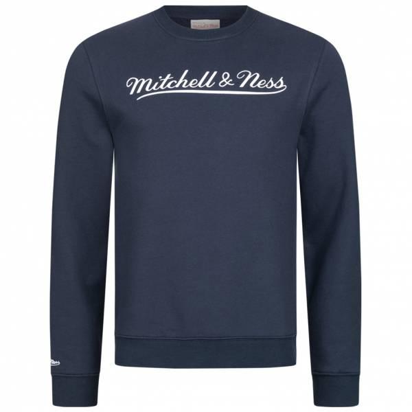 Mitchell & Ness Script Crew Herren Sweatshirt MN-BRA-SCRPTLOGOCREW-NVYWHT