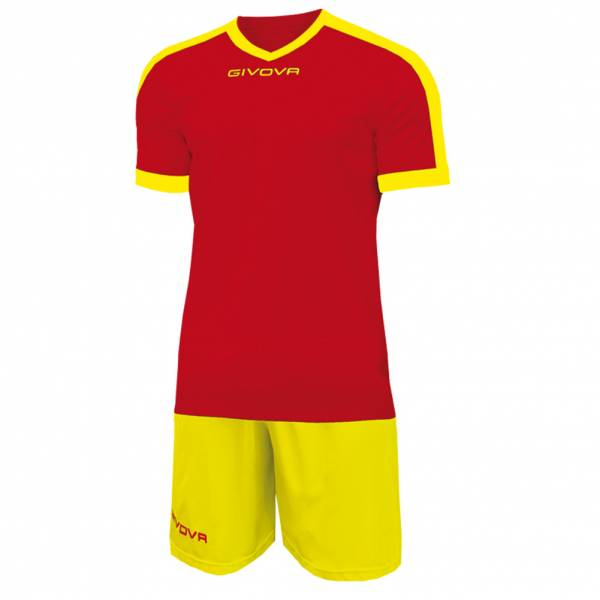 Givova Kit Revolution Football Jersey with Shorts red yellow
