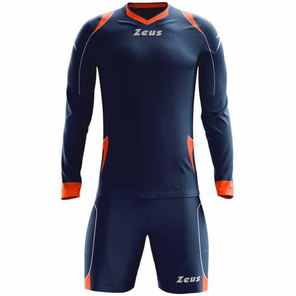 Zeus Paros Torwart Set Langarm Trikot mit Shorts Navy Rot