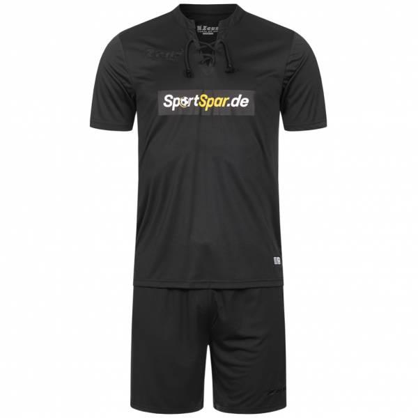Zeus x Sportspar.de Legend Fußball Set Trikot mit Shorts schwarz