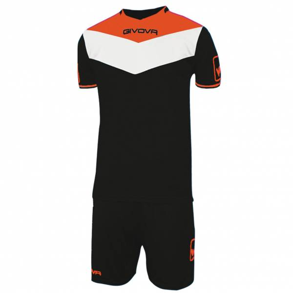 Givova Kit Campo Jersey Set Jersey + Shorts black / neon orange