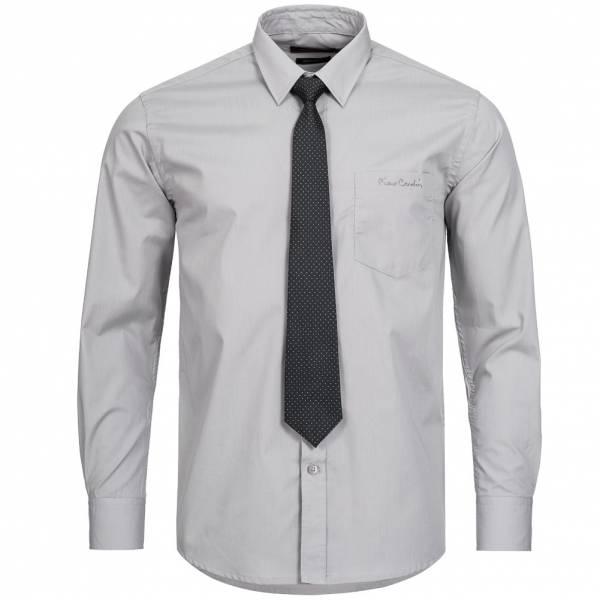 Pierre Cardin Herren Designer Hemd mit Krawatte grau