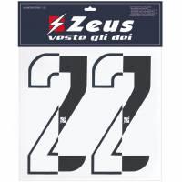Zeus Nummern-Set 1-22 zum Aufbügeln 10cm halb schwarz
