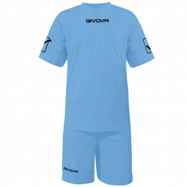 Givova Fußball Set Trikot mit Short Kit Givova hellblau