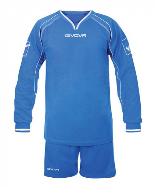 Givova Soccer Set Long-sleeved Jersey with Shorts Leader blue