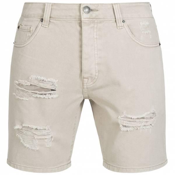 BRAVE SOUL Bratby Rip Denim Herren Jeans Shorts MSRT-BRATBYRIP Stone