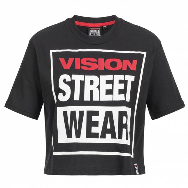 Vision Street Wear Women Fitness Crew Neck Cropped T-shirt CL3103 black