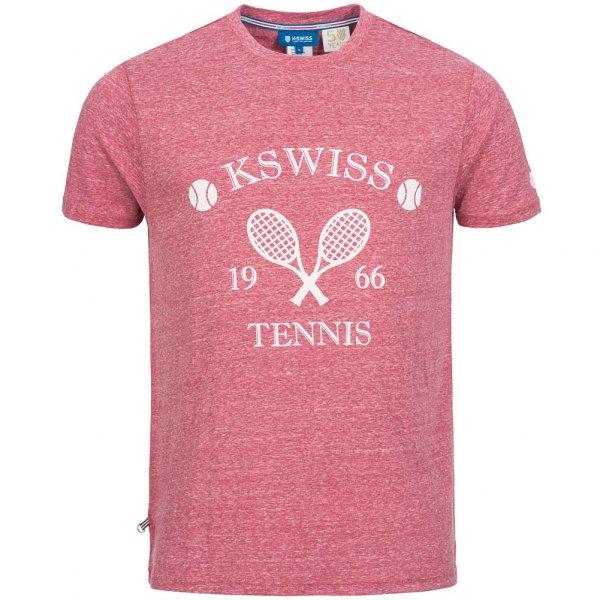K-Swiss Graphic Tee Herren Tennis T-Shirt 11611113-600 Rot