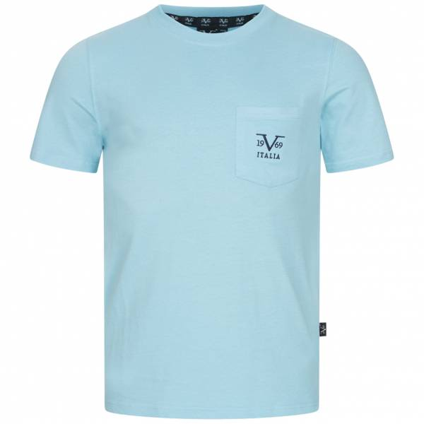 19V69 Versace 1969 Taschino Ricamo Herren T-Shirt VI20SS0009B hellblau