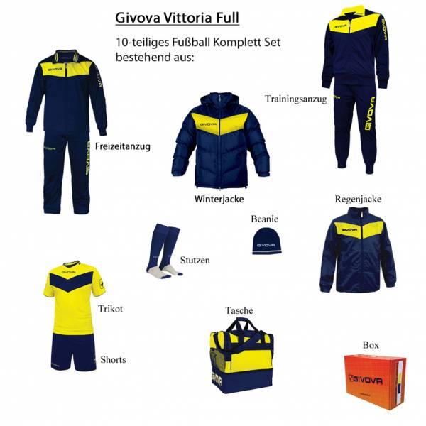 Givova Box Vittoria Full Fußball Set 10-tlg. navy/gelb
