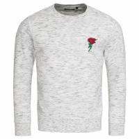 BRAVE SOUL Caspian Rose Embroidery Herren Sweatshirt MSS-500CASPIAN ECRU