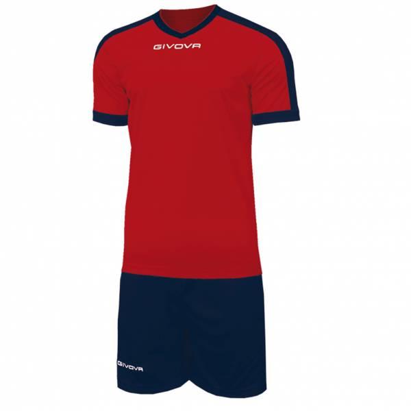 Givova Kit Revolution Fußball Trikot mit Short rot navy