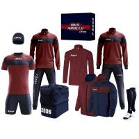 Zeus Apollo Football Kit Teamwear Box 12 pieces Navy Dark red