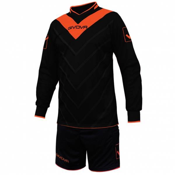 Givova Soccer Set Torwatrikot with Short Kit Sanchez black / neon orange