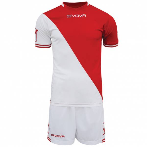 Givova Soccer Set Jersey with Short Kit Craft white / red