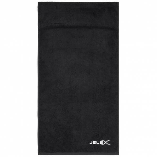 JELEX 100FIT Fitness Handtuch mit Zip-Tasche schwarz