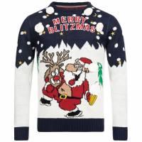 BRAVE SOUL Blitzed X-Mas Weihnachts Pullover MK-230BLITZED NAVY