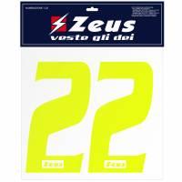 Zeus Nummern-Set 1-22 zum Aufbügeln 10cm neongelb