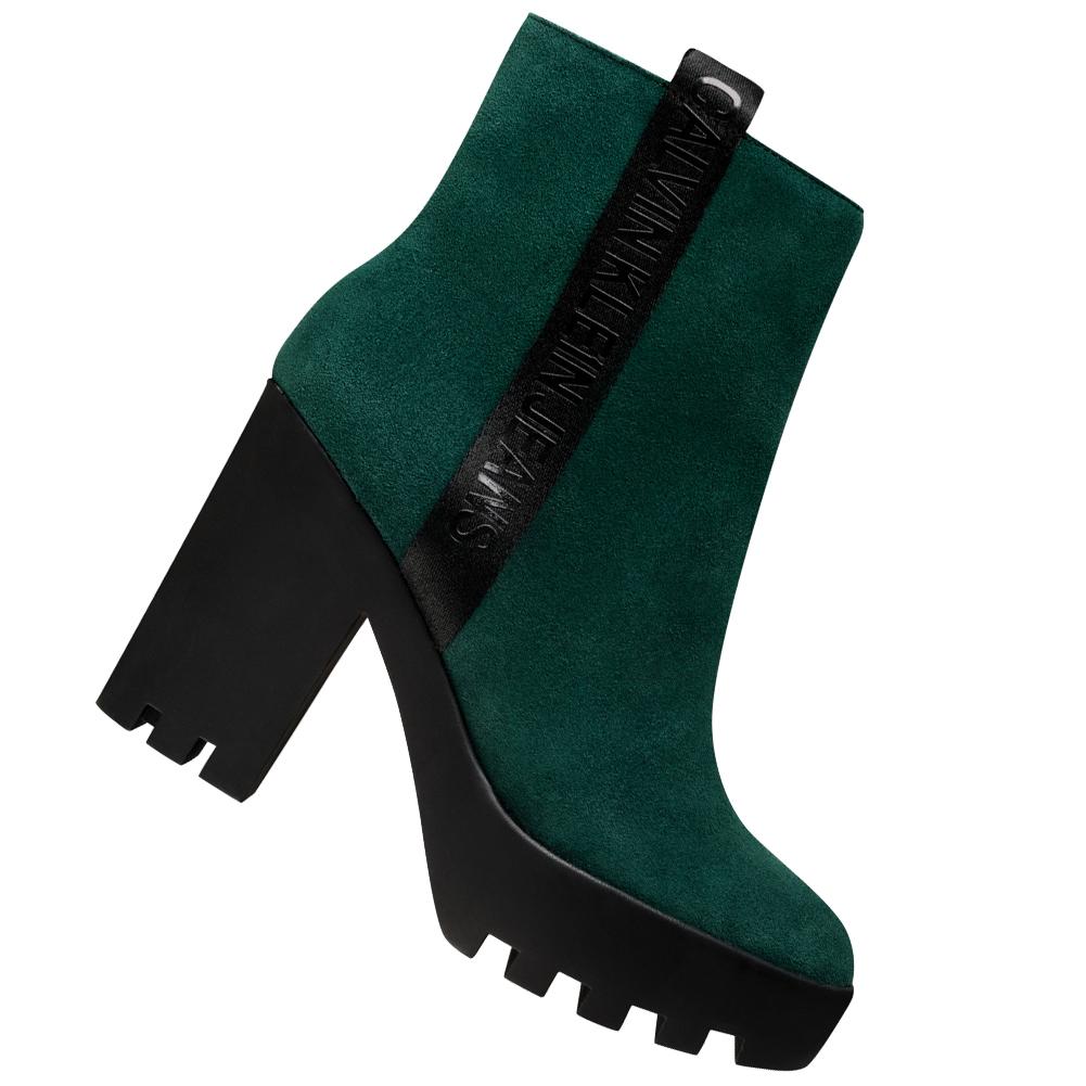 Calvin Klein Jeans Serina Damen High Heel Stiefeletten RE9768GRN