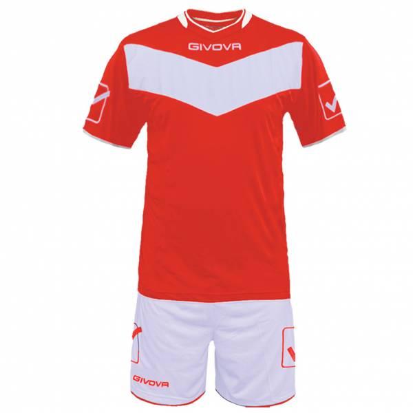 Givova Fußball Set Trikot mit Short Vittoria rot/weiß
