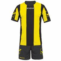 Givova Soccer Set Jersey con Short Kit Catalano Giallo / Nero