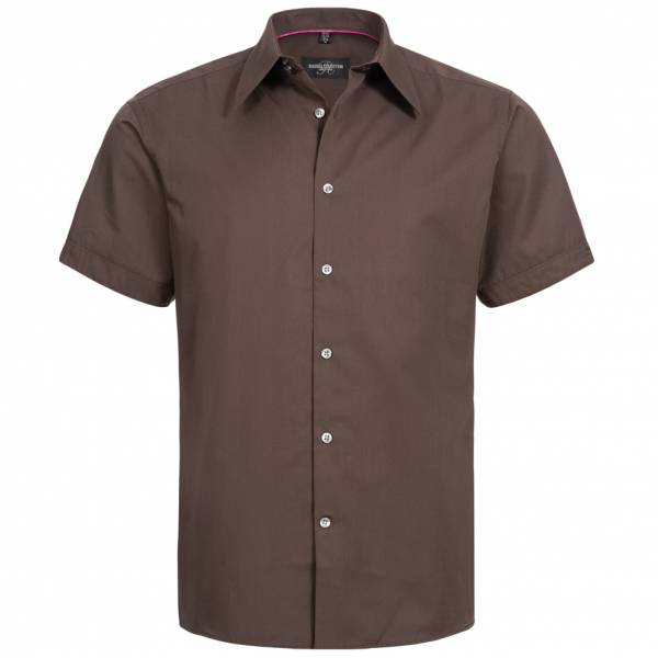 RUSSELL Short Sleeve Tencel Fittet Herren Hemd 0R955M0-Chocolate