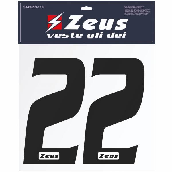 Zeus Nummern-Set 1-22 zum Aufbügeln 10cm schwarz