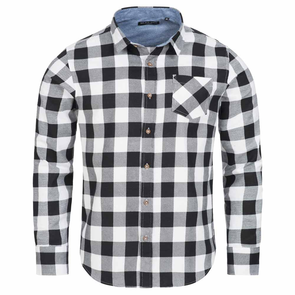 Mens Long Sleeved Check Shirt by Brave Soul