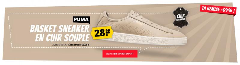 info for 4a97e 4df98 PUMA Basket Sneaker en cuir seulement 28,99 € - shopping aux prix  avantageux sur