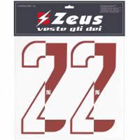 Zeus Nummern-Set 1-22 zum Aufbügeln 10cm halb rot