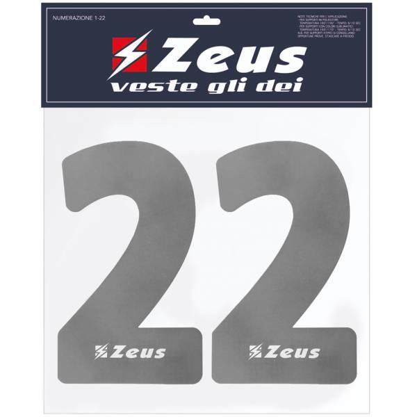 Zeus Kit de transfert des numéros de 1 à 22 23cm senior argent