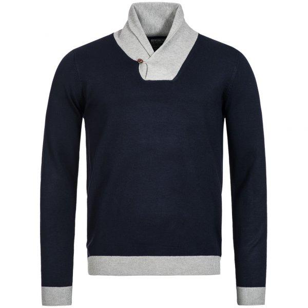 Kensington Eastside Herren Sweatshirt mit Stehkragen Stanbury Navy