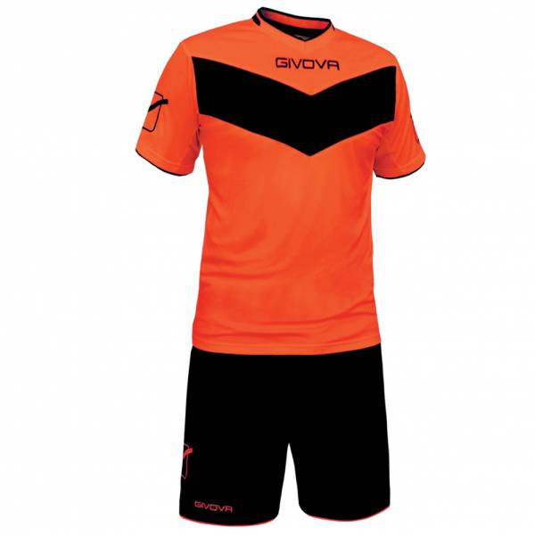 Givova football Set Jersey with Shorts Vittoria neon orange / black