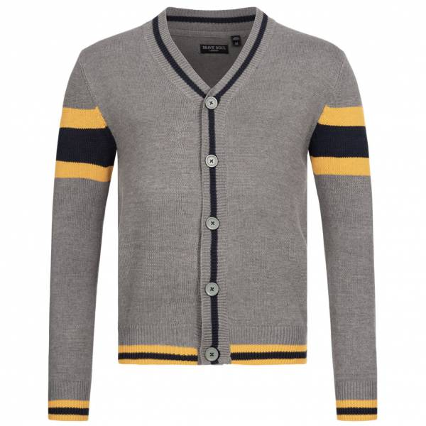 BRAVE SOUL Sullivan Men Colourblock Cardigan MK-248SULLIVAN SILVER GRAY